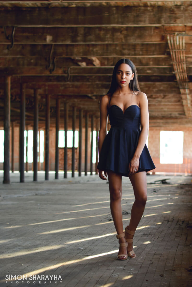 attractive girl modeling in old building, modeling photography